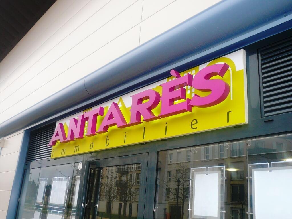 Enseigne agence immobilière Antares