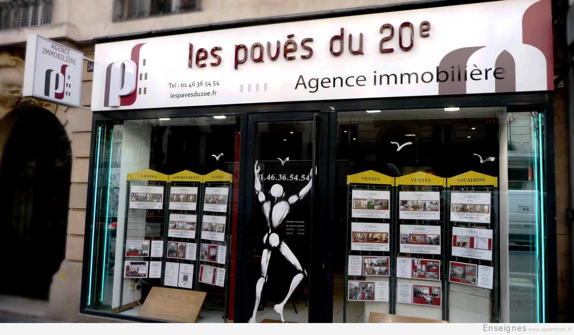 Enseigne lumineuse agence immobili re les pav s du 20 me for Les agence immobiliere