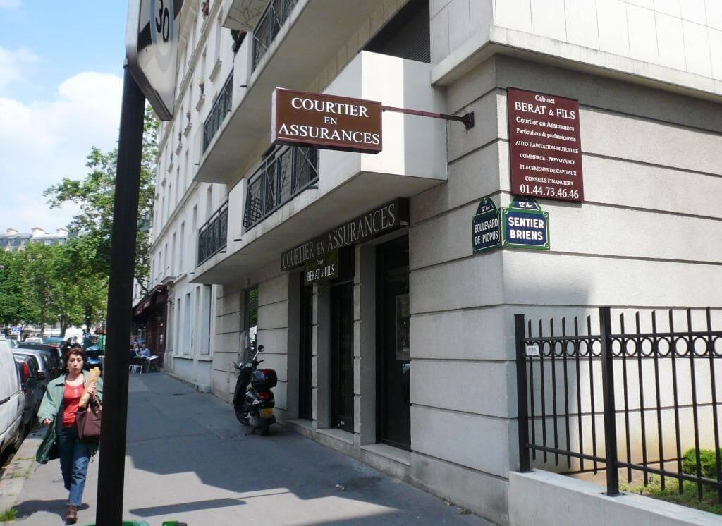 Enseigne cabinet d'assurances Paris Berat