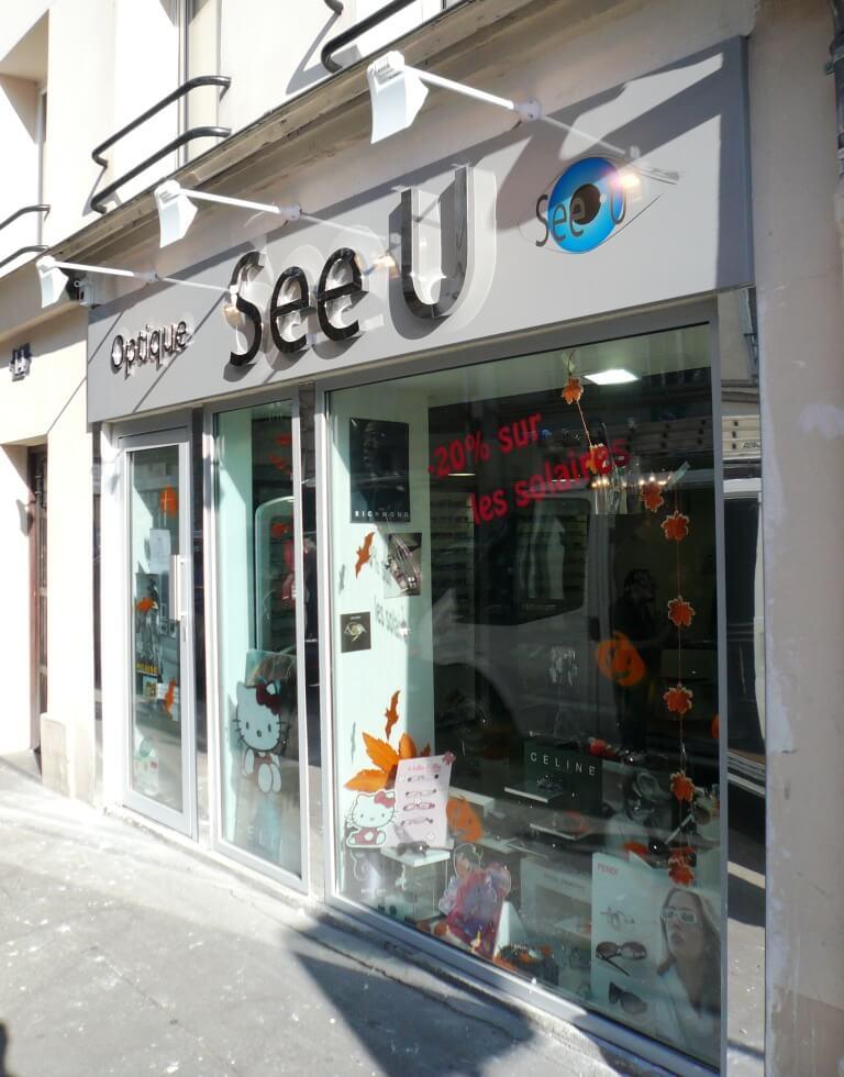840a34f4a6 Enseigne inox Optique See U à Vincennes 94300 inox poli miroir + impression  numérique