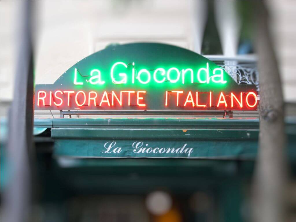 Enseigne restaurant Italien La Gioconda Paris