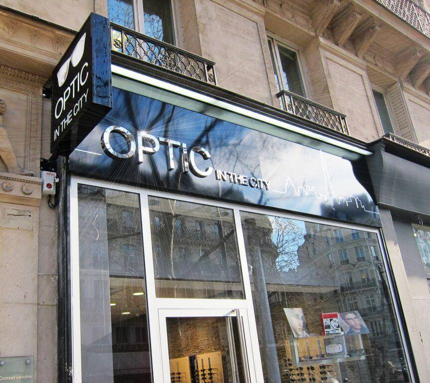 enseigne lumineuse en inox optic in the city paris 75003. Black Bedroom Furniture Sets. Home Design Ideas