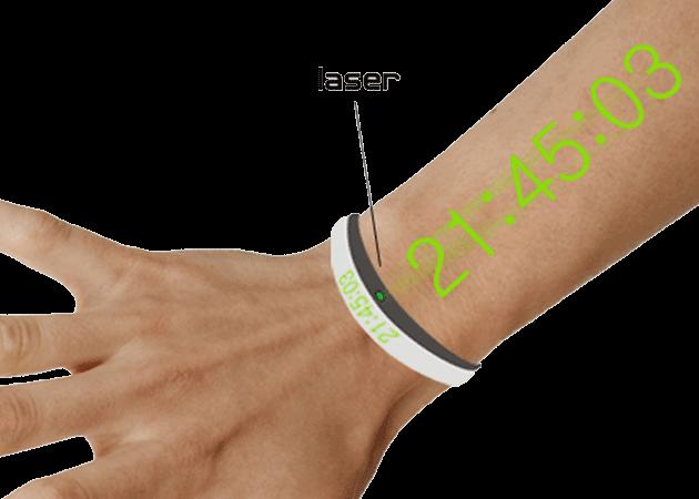 Votre bras est une montre lumineuse à laser