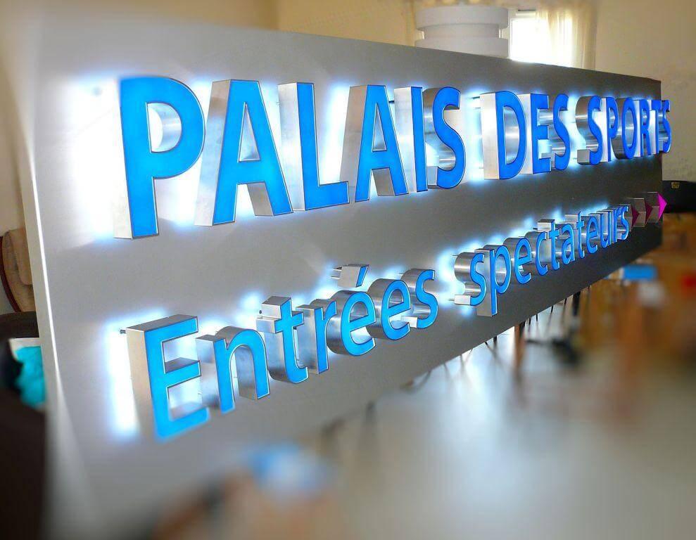 Enseigne lumineuse inox Palais des Sports de Paris