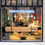 Détail néon bleu - Café Malongo Paris