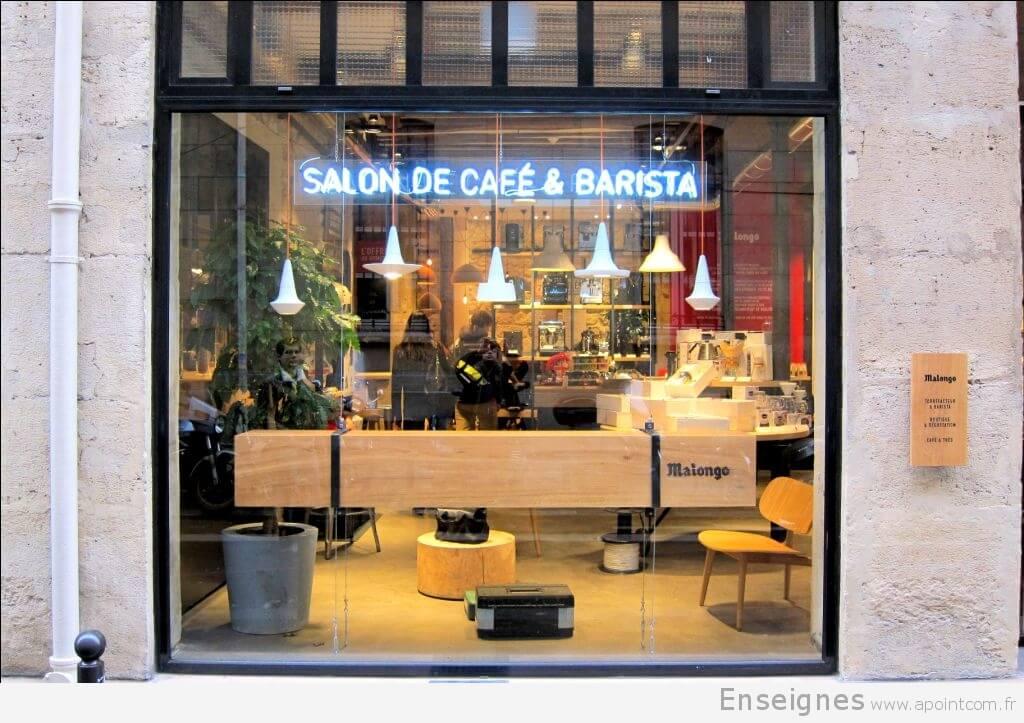 Enseigne en néon café Malongo Paris