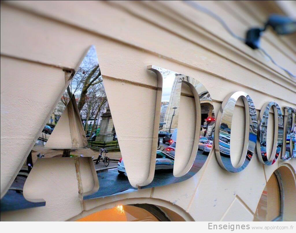 Enseigne Inox Boutique J Adoore D Coration Paris 16