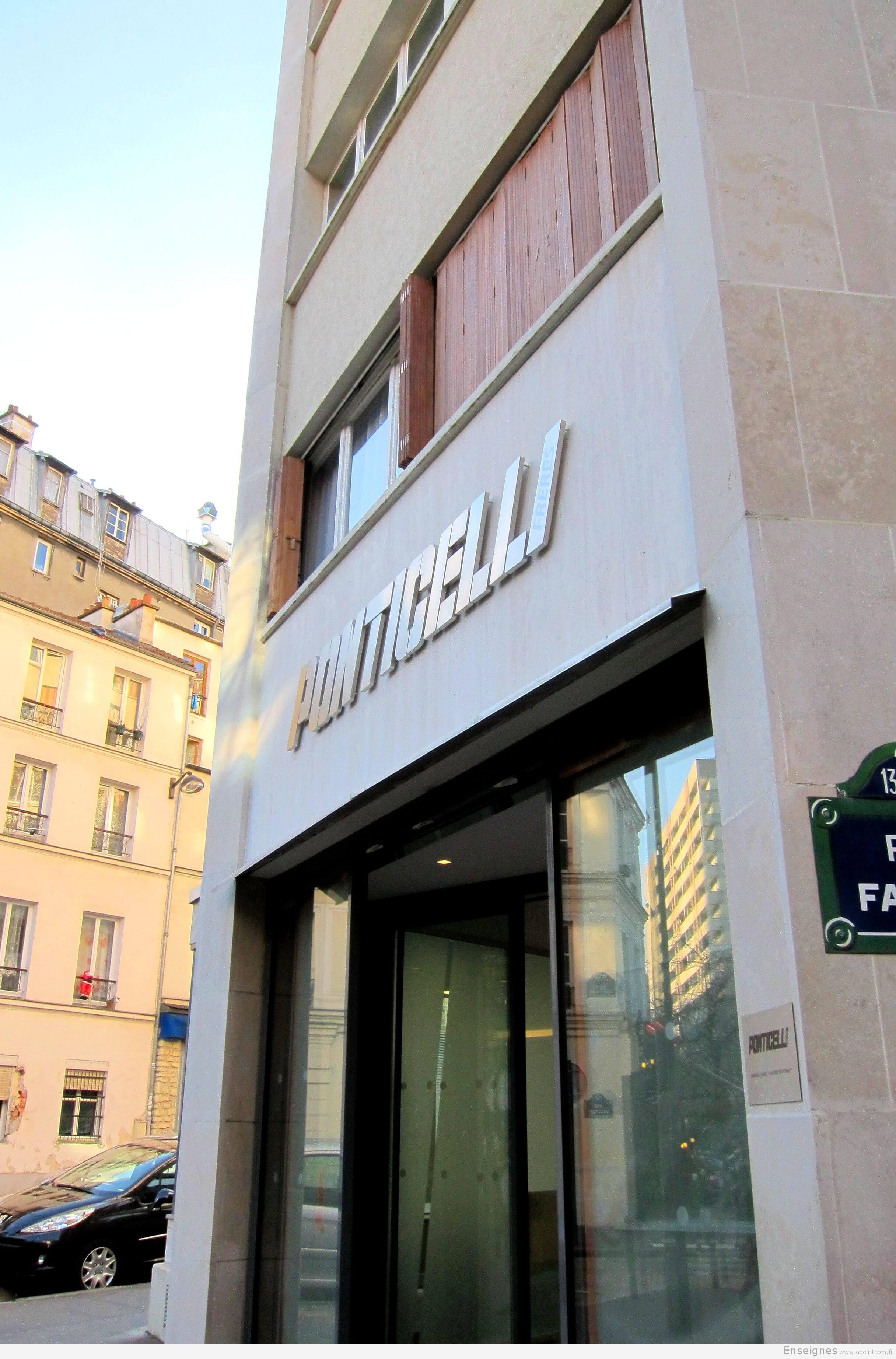 Enseigne inox Ponticelli Frères Paris 13
