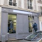 Enseigne de magain et enseigne drapeau en lettres boitier inox - Boutique atelier de prêt à porter THOMAS DERRIEN à Paris 7