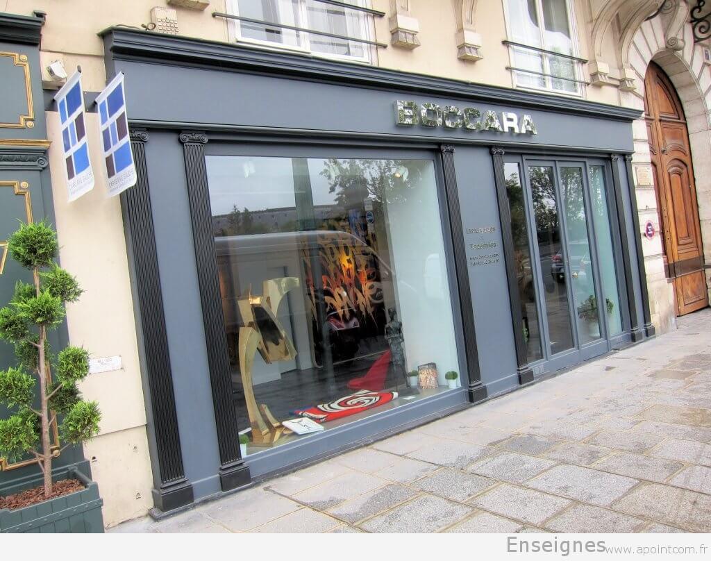 enseigne inox pour galerie d 39 art tapis boccara paris 7e. Black Bedroom Furniture Sets. Home Design Ideas