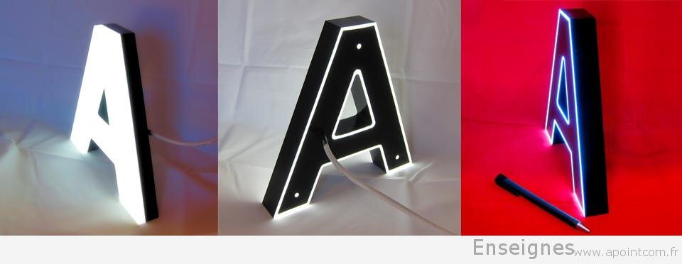 Enseigne lumineuse lettre boitier Plexiglas