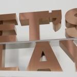 Texte avec relief de 60 mm lettres boitiers cuivre brossé