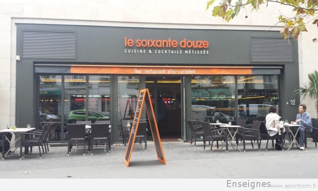 enseigne restaurant le soixante douze paris 75013. Black Bedroom Furniture Sets. Home Design Ideas