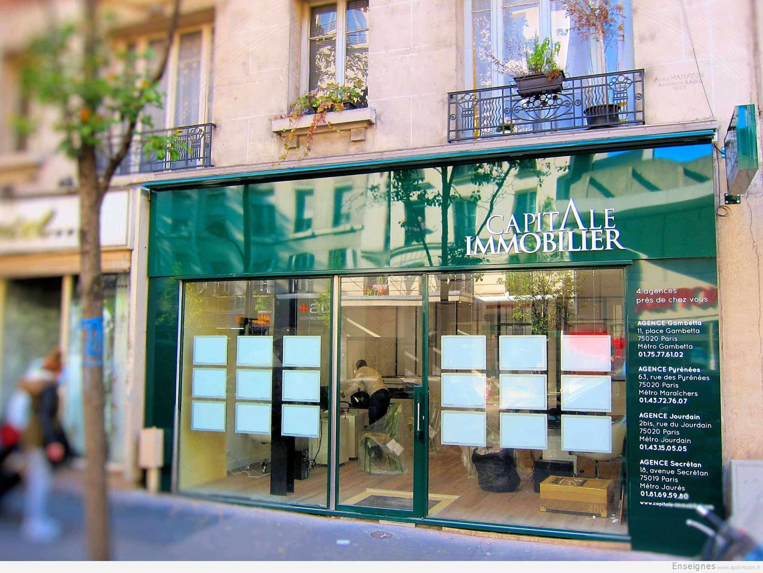 Enseigne agence immobili re paris capital immobilier for Immobilier appartement atypique paris