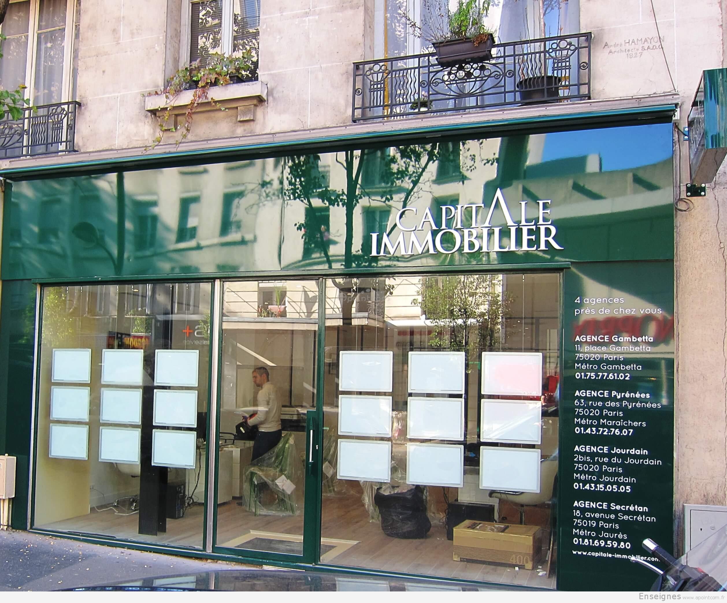 Enseigne agence immobili re paris capital immobilier for Agence immobiliere paris
