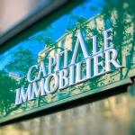 Détail de 3/4 des lettres de l'enseigne pour agence immobilière à Paris (Capital Immobilier)