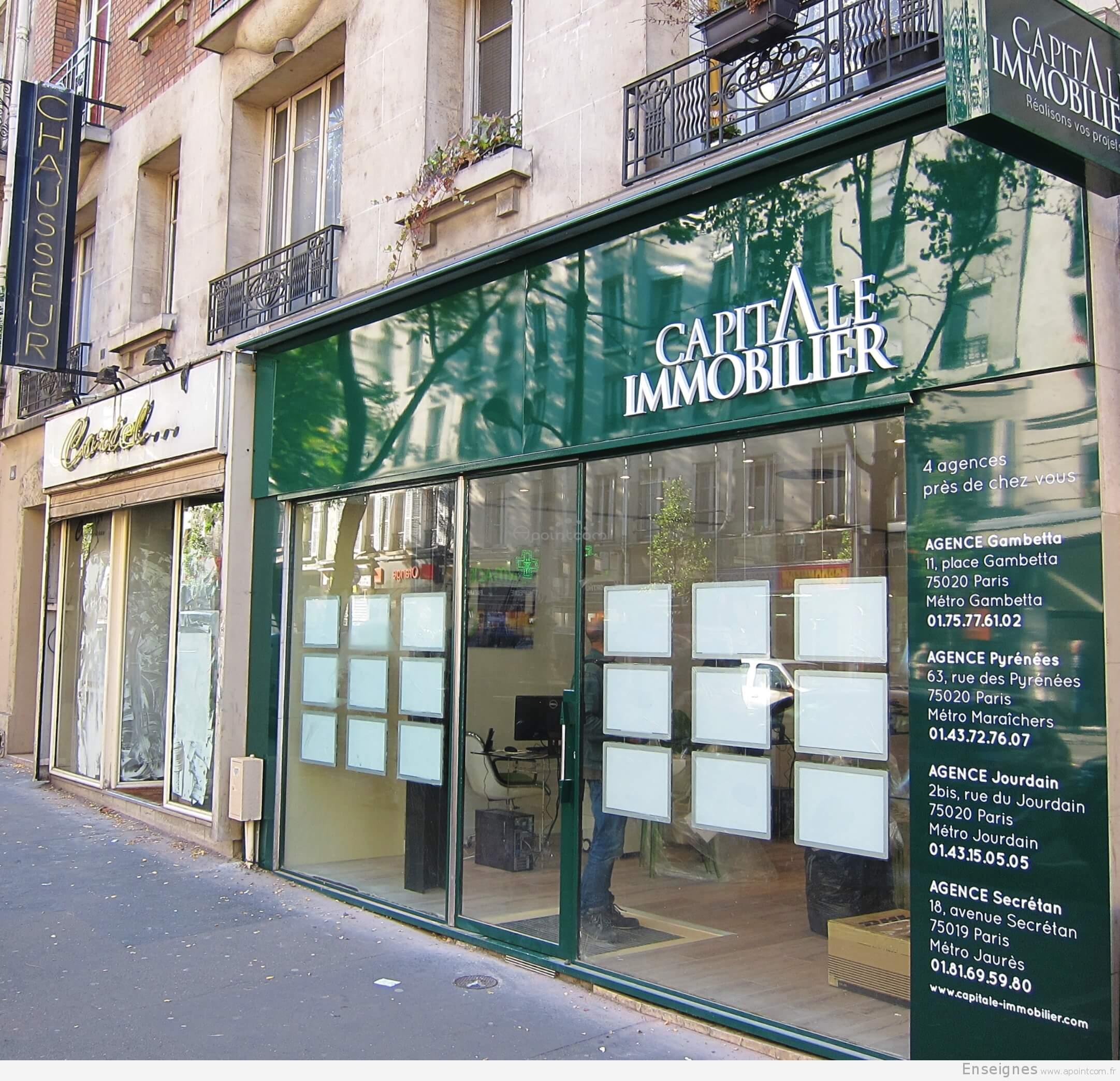 Enseigne Agence Immobilière à Paris (Capital Immobilier