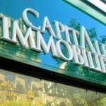 Détail des lettres blanches de l'enseigne sur fond vert pour agence immobilière à Paris (Capital Immobilier)